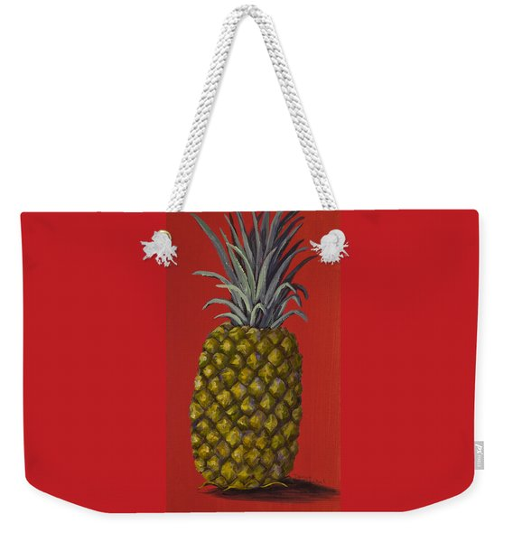 Pineapple On Red Weekender Tote Bag