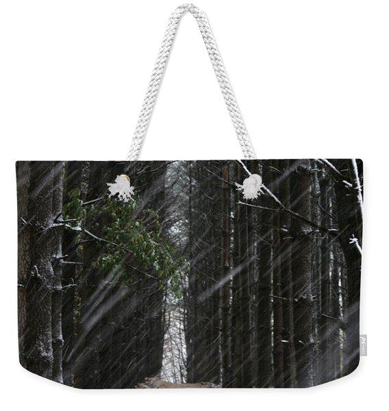 Pines In Snow Weekender Tote Bag