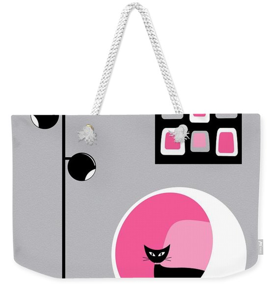 Weekender Tote Bag featuring the digital art Pink 1 On Gray by Donna Mibus