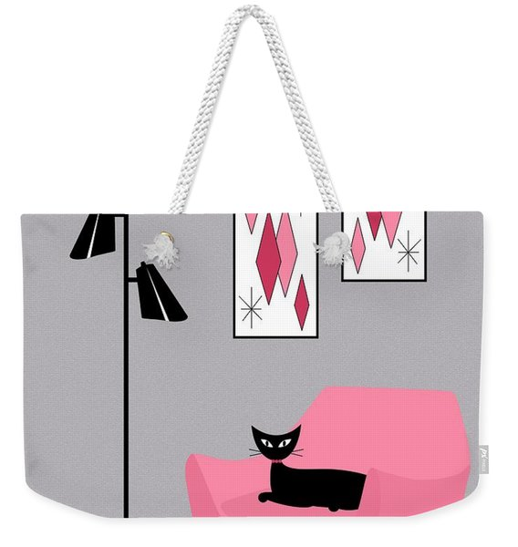 Weekender Tote Bag featuring the digital art Pink 2 On Gray by Donna Mibus