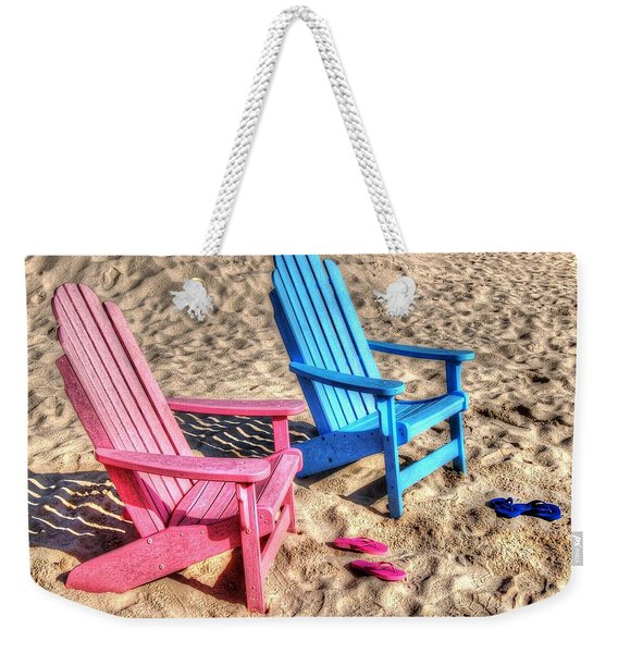 Pink And Blue Beach Chairs With Matching Flip Flops Weekender Tote Bag