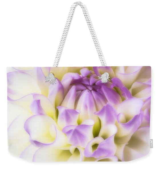 Pink And White Dahlia Weekender Tote Bag