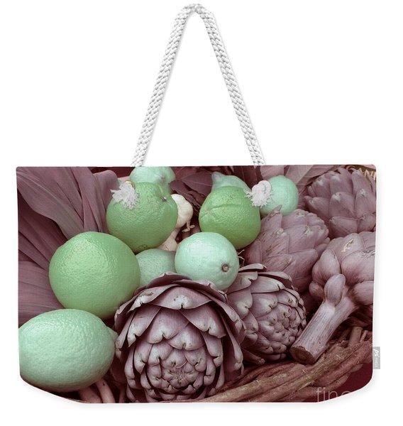 Pink Artichokes With Green Lemons And Oranges Weekender Tote Bag