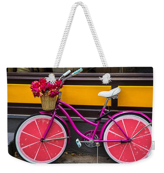 Pink Bike Weekender Tote Bag