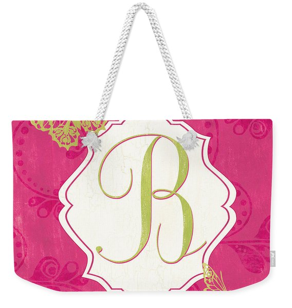 Pink Butterfly Monogram Weekender Tote Bag