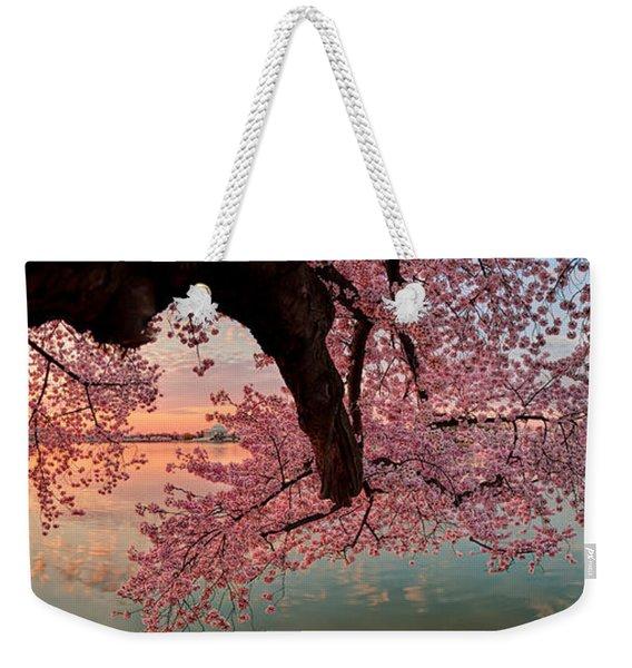 Pink Cherry Blossom Sunrise Weekender Tote Bag