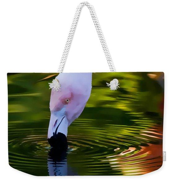 Pink Flamingo Ripples And Reflection Weekender Tote Bag