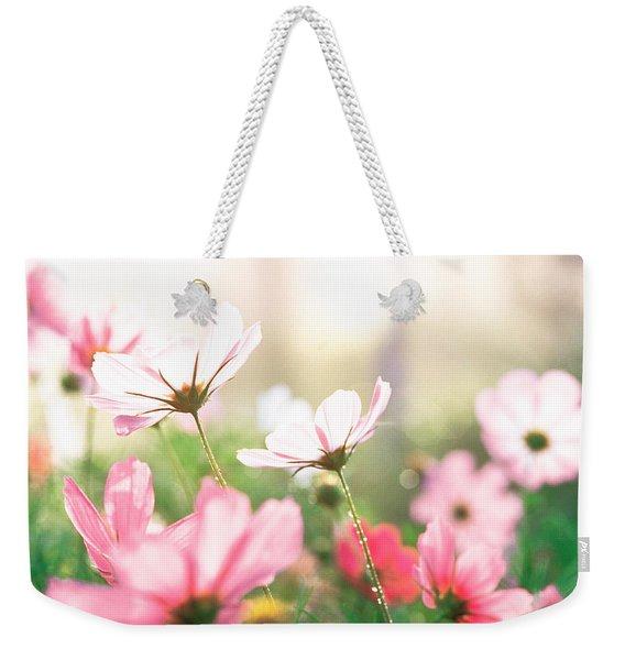 Pink Flowers In Meadow Weekender Tote Bag