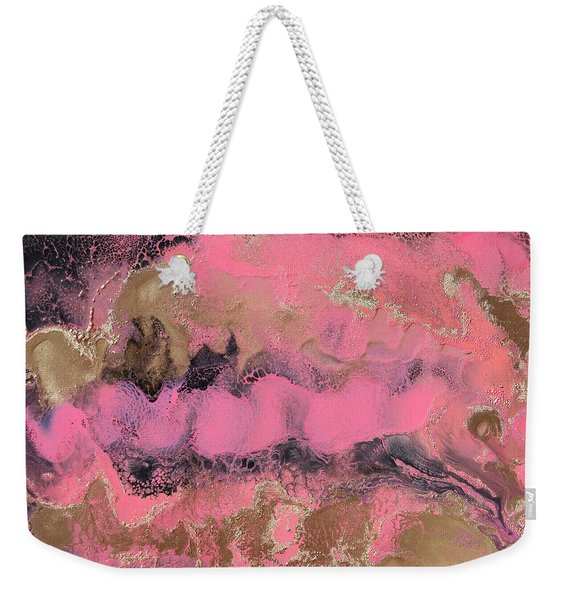 Pink Gold And Black Abstract Painting Weekender Tote Bag