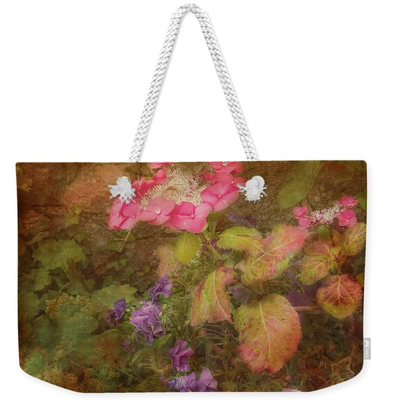 Pink Hydrangea And Purple Pansies Weekender Tote Bag