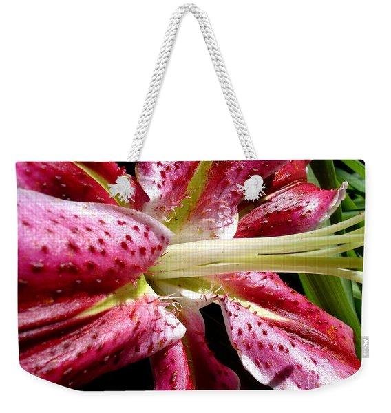Pink Lily Macro Weekender Tote Bag