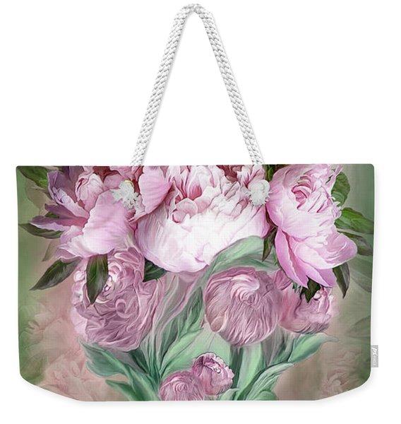 Pink Peonies In Peony Vase Weekender Tote Bag