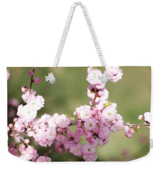Pink Plum Branch On Green 2 Weekender Tote Bag