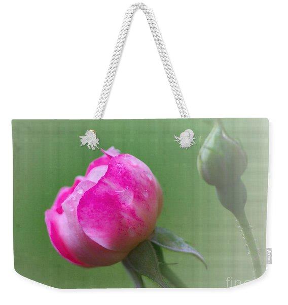 Pink Rose And Raindrops Weekender Tote Bag