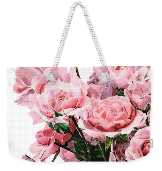 Pink Rose Bouquet Weekender Tote Bag