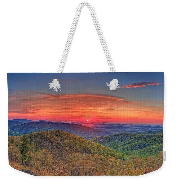Pink Sunrise At Skyline Drive Weekender Tote Bag