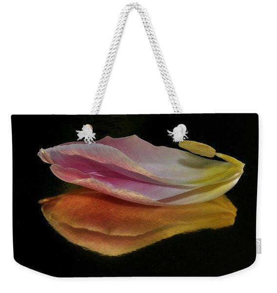 Pink Tulip Petal Reflected On Black Weekender Tote Bag