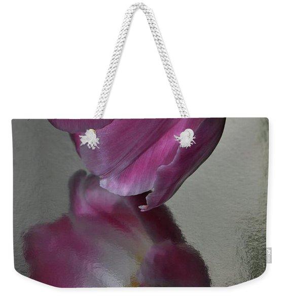 Pink Tulip Reflected In Silver Water Weekender Tote Bag