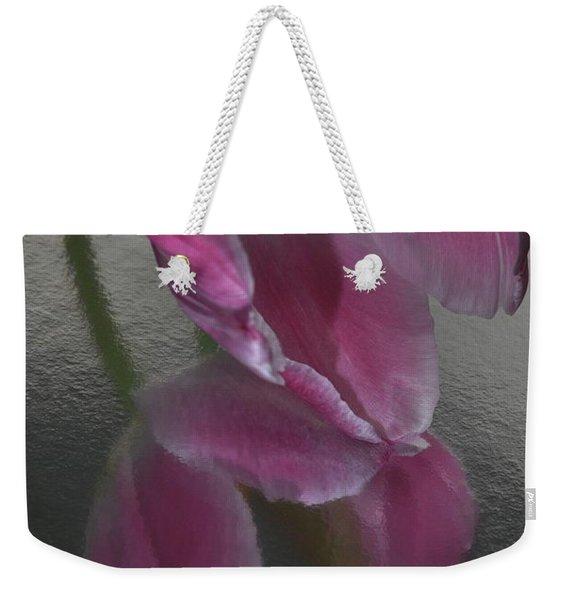 Pink Tulip Reflection In Silver Water Weekender Tote Bag