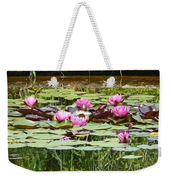 Pink Water Lilies Weekender Tote Bag