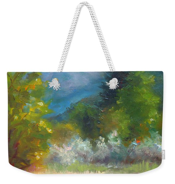 Pioneer Peaking - Flowers And Mountain In Alaska Weekender Tote Bag