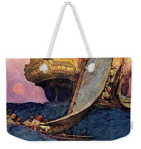 Pirate Ship Attacking Spanish Galleon Weekender Tote Bag