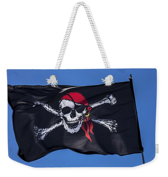Pirate Skull Flag With Red Scarf Weekender Tote Bag