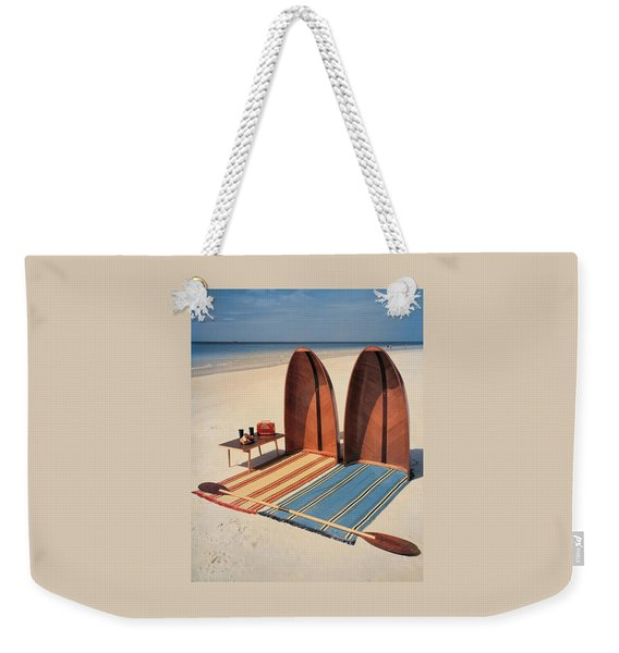 Pixie Collapsible Boat On The Beach Weekender Tote Bag
