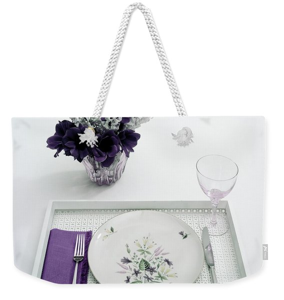 Place Setting With With Flowers Weekender Tote Bag