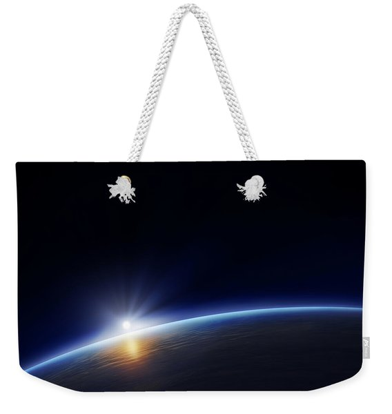 Planet Earth With Rising Sun Weekender Tote Bag