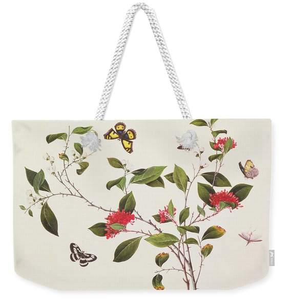 Plant Study With Butterflies Weekender Tote Bag