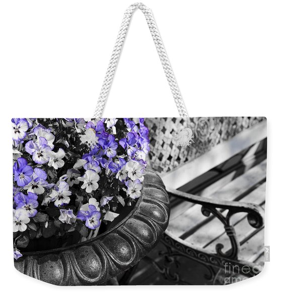 Planter With Pansies And Bench Weekender Tote Bag