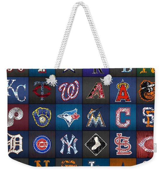 Play Ball Recycled Vintage Baseball Team Logo License Plate Art Weekender Tote Bag