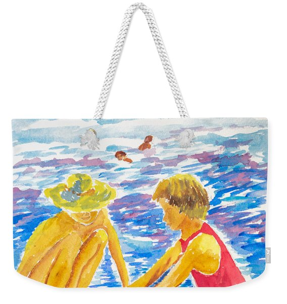 Playing On The Beach Weekender Tote Bag
