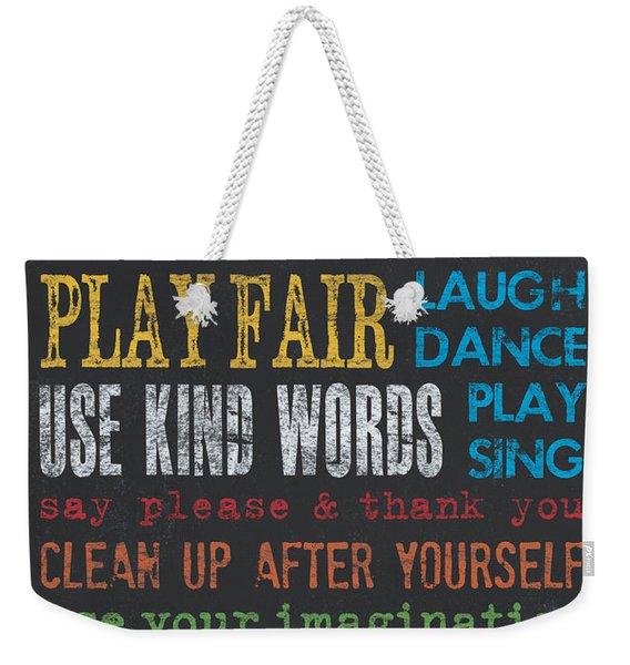 Playroom Rules Weekender Tote Bag