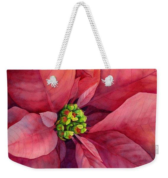 Plum Poinsettia Weekender Tote Bag