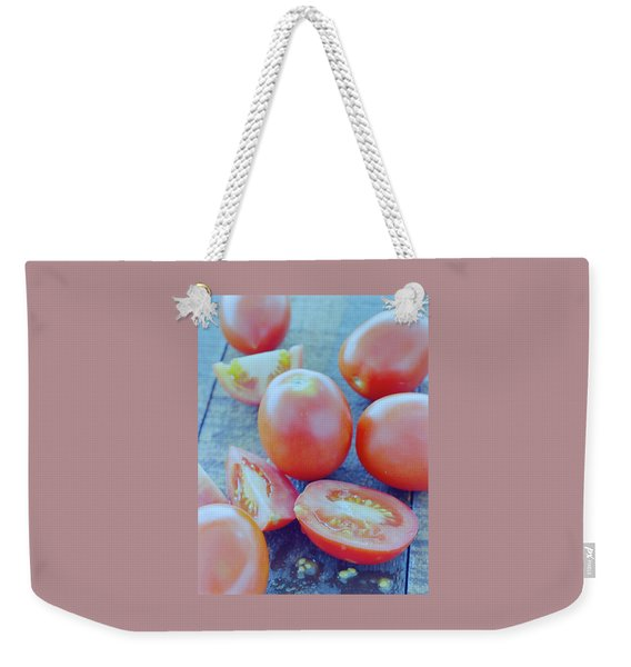 Plum Tomatoes On A Wooden Board Weekender Tote Bag
