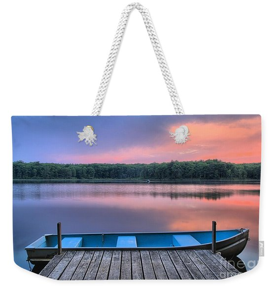Poconos Lake Whitney Sunset Rowboat Weekender Tote Bag