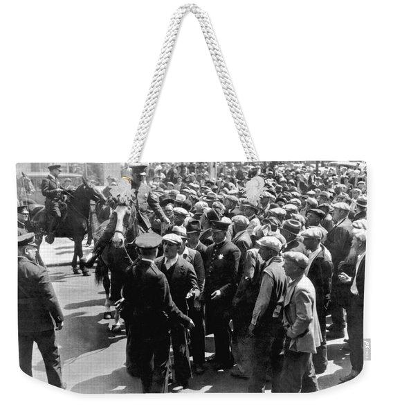 Police Confront Sf Strikers Weekender Tote Bag