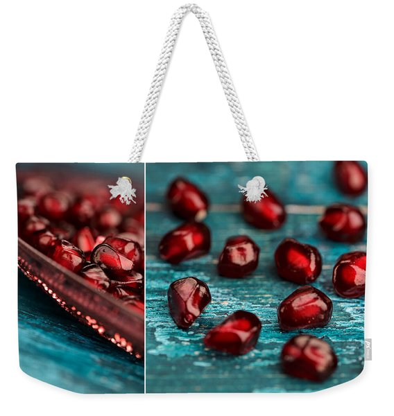 Pomegranate Collage Weekender Tote Bag