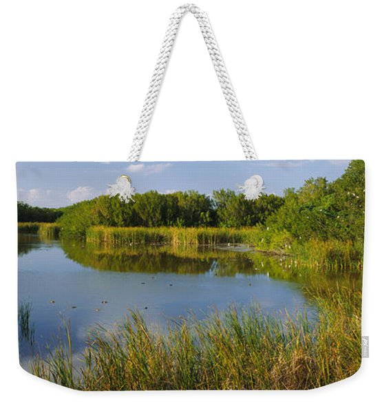 Pond In A Forest, Eco Pond, Flamingo Weekender Tote Bag