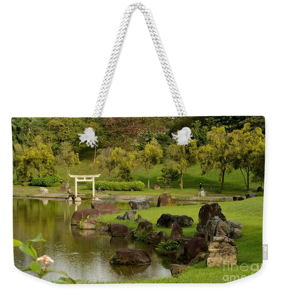 Pond Rocks Grass And Japanese Arch Singapore Weekender Tote Bag