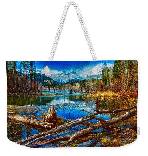 Pondering A Mountain Weekender Tote Bag
