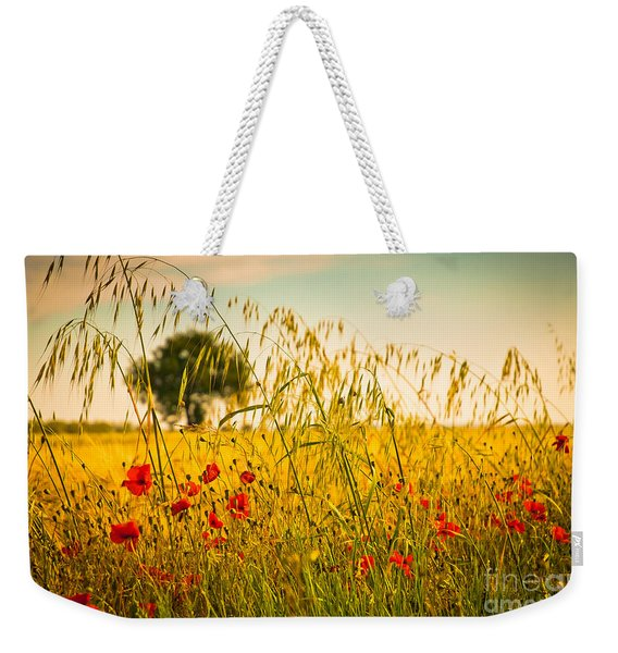 Poppies With Tree In The Distance Weekender Tote Bag