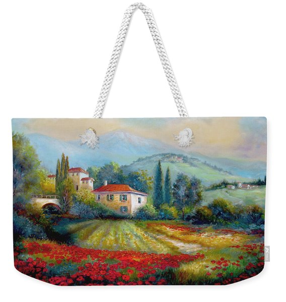 Poppy Fields Of Italy Weekender Tote Bag