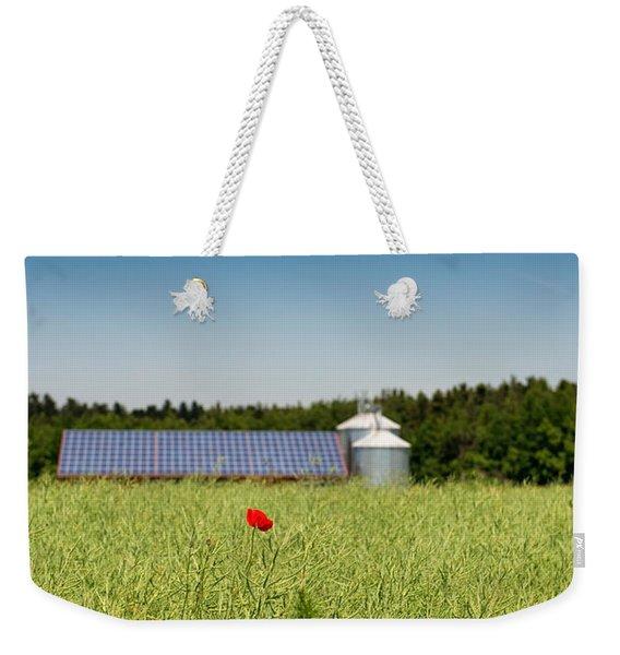 Poppy Flower In A Field And Barn Weekender Tote Bag