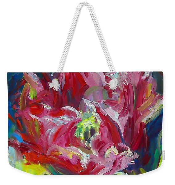 Weekender Tote Bag featuring the painting Poppy's Secret  by Talya Johnson