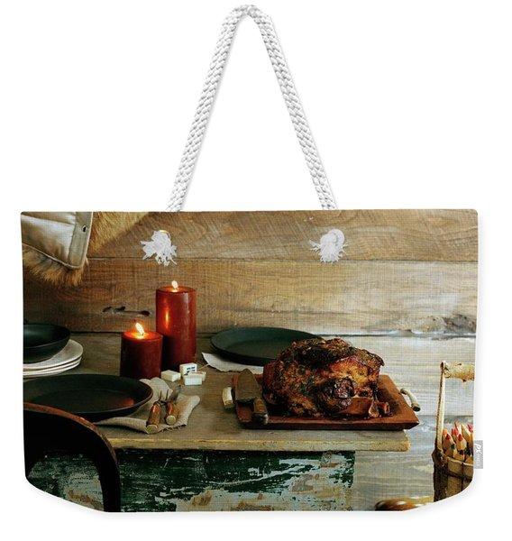 Pork With Candles Weekender Tote Bag