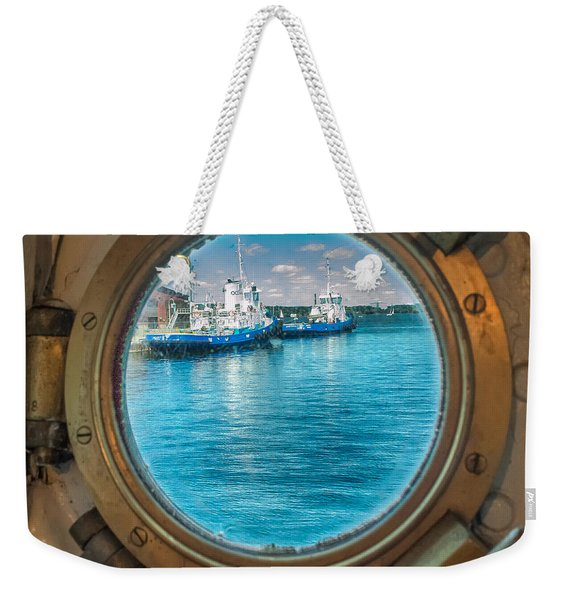 Weekender Tote Bag featuring the photograph Hmcs Haida Porthole  by Garvin Hunter