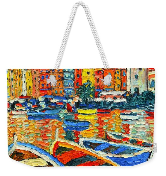 Portovenere Harbor - Italy - Ligurian Riviera - Colorful Boats And Reflections Weekender Tote Bag